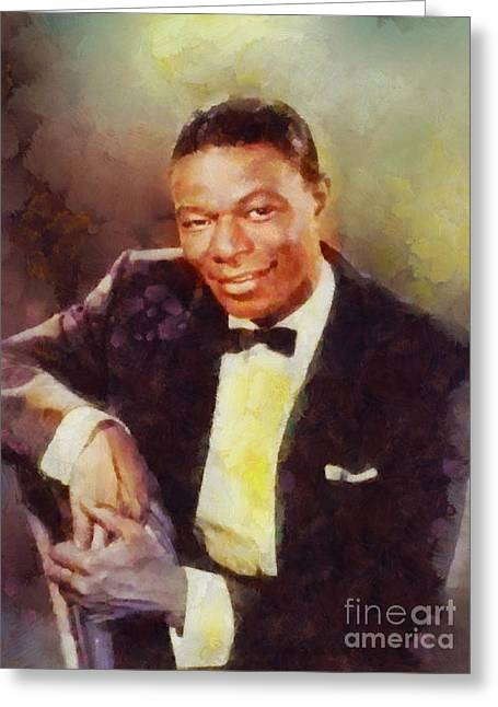 Nat King Cole, Music Legend Greeting Card by Sarah Kirk