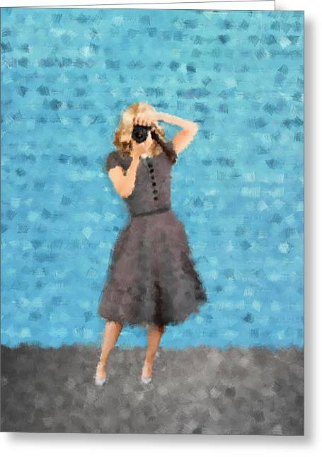Greeting Card featuring the digital art Natalie by Nancy Levan