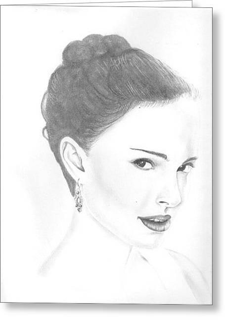 Natalie Portman Greeting Card by Rebecca Bellomo