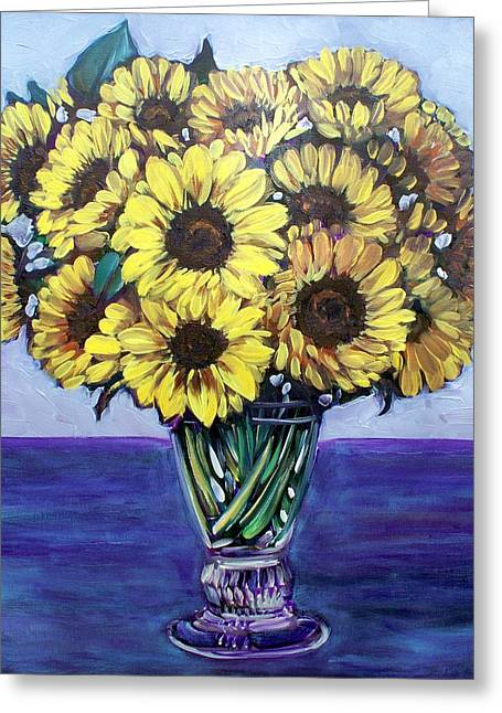 Natasha's Sunflowers Greeting Card by Sheila Tajima
