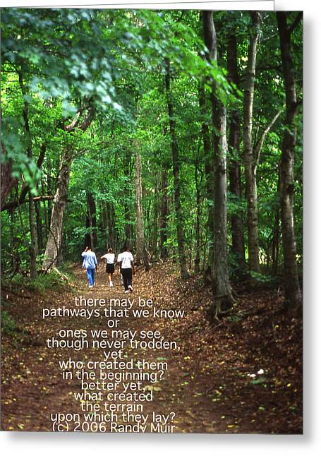 Natchez Trace Walkers With Poem Greeting Card by Randy Muir