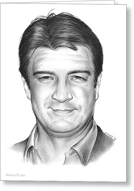 Nathan Fillion Greeting Card by Greg Joens