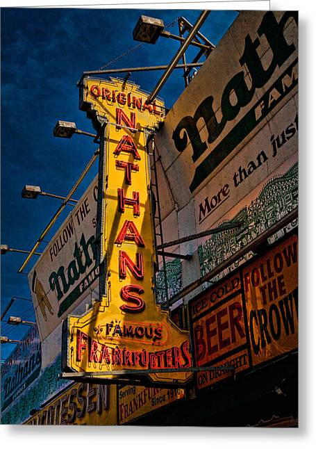 Nathans Famous Original Frankfurters  Greeting Card by Chris Lord