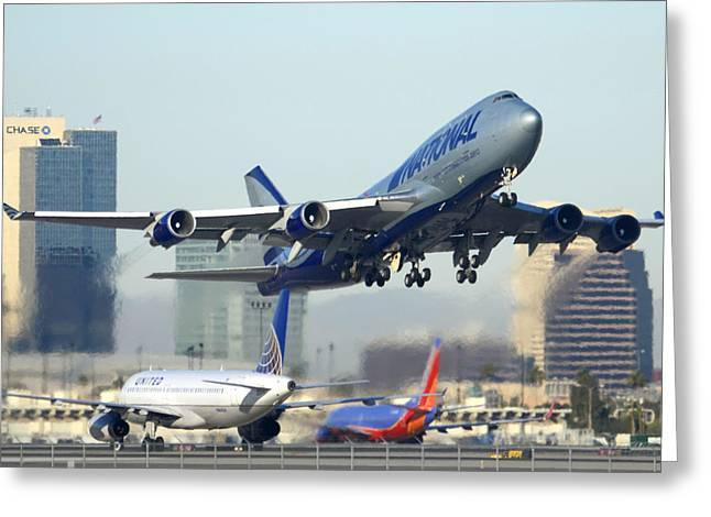 National Cargo Boeing 747-428 Bcf Phoenix Sky Harbor Arizona December 23 2011 Greeting Card by Brian Lockett