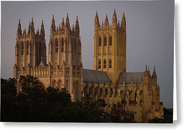 National Cathedral At Twilight Greeting Card