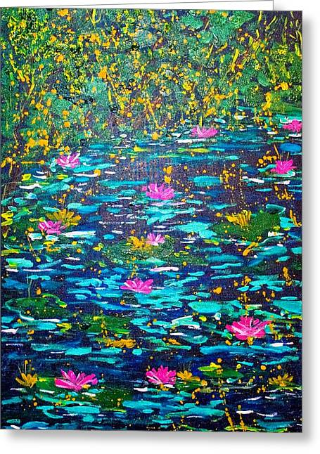 Greeting Card featuring the painting National Flowers by Piety Dsilva