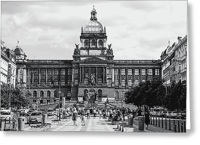 Greeting Card featuring the photograph National Museum At Wenceslas Square. Prague by Jenny Rainbow