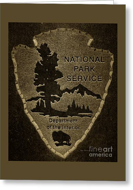 National Park Service Logo Badge Fabric Greeting Card by John Stephens