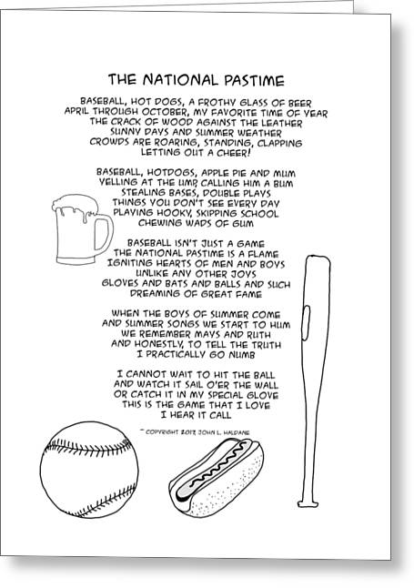 Greeting Card featuring the drawing National Pastime by John Haldane