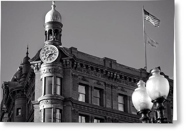 Greeting Card featuring the photograph National Savings And Trust Company In Black And White by Greg Mimbs