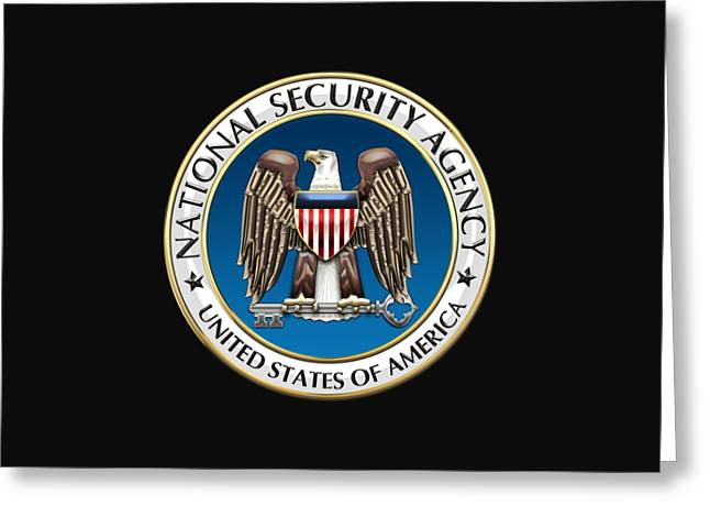 National Security Agency - N S A Emblem On Black Velvet Greeting Card by Serge Averbukh