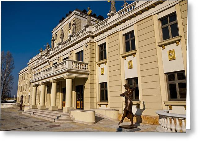 National Theater In Skopje Greeting Card by Rae Tucker