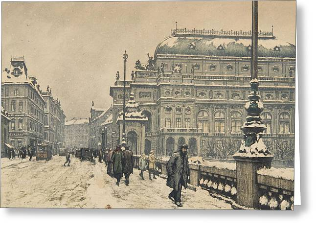 National Theatre In Winter Greeting Card