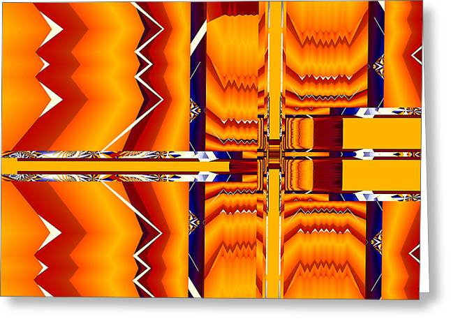 Greeting Card featuring the digital art Native Abstract by Fran Riley