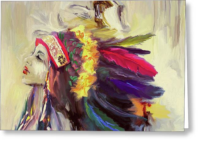 Native American 274 3 Greeting Card by Mawra Tahreem
