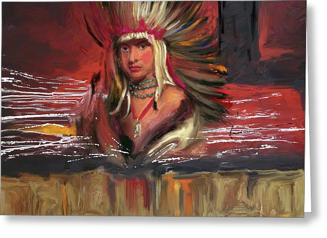 Native American 277 1  Greeting Card by Mawra Tahreem