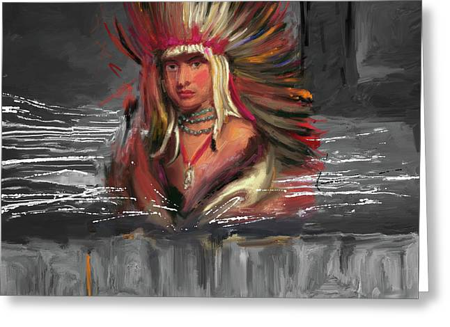 Native American 277 3 Greeting Card by Mawra Tahreem