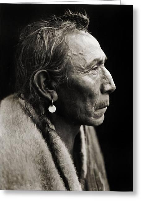 Native American Aki-tanni Two Guns Greeting Card by Jennifer Rondinelli Reilly - Fine Art Photography