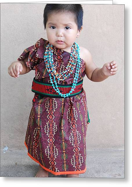 Greeting Card featuring the photograph Native American Baby Girl by Irina ArchAngelSkaya