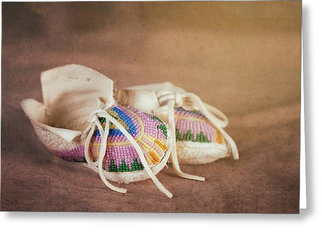 Native American Baby Shoes Greeting Card by Tom Mc Nemar