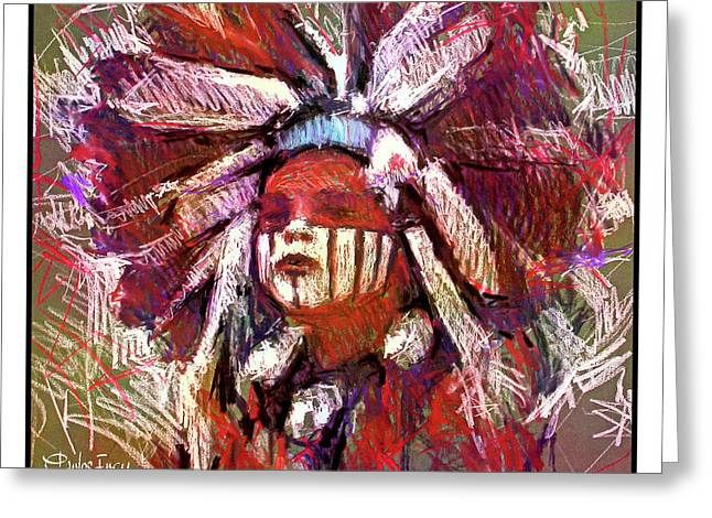 Native American - Boy Dancer - Painted Face And Headdress Greeting Card