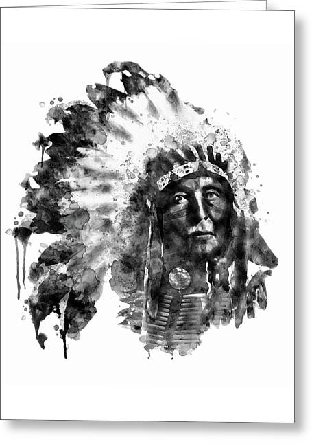 Native American Chief Black And White Greeting Card by Marian Voicu
