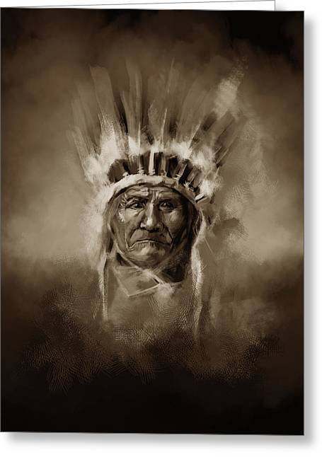 Native American Chief-geronimo 3 Greeting Card by Bekim Art