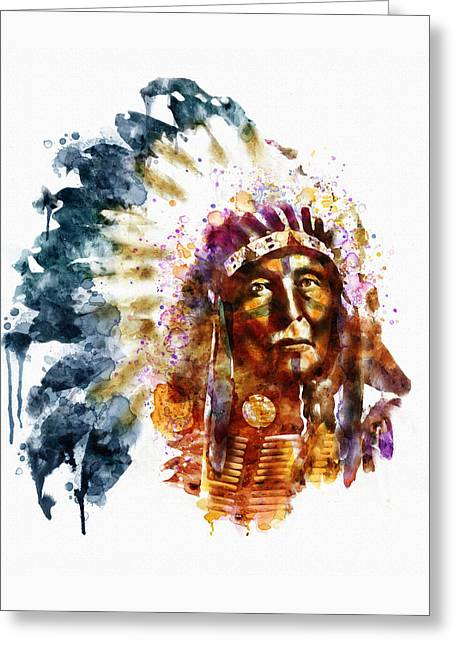 Native American Chief Greeting Card by Marian Voicu