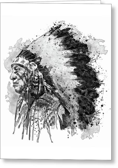Native American Chief Side Face Black And White Greeting Card by Marian Voicu