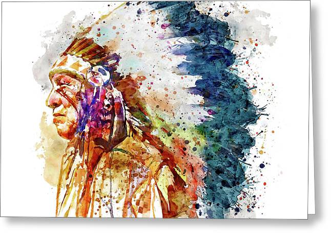 Native American Chief Side Face Greeting Card