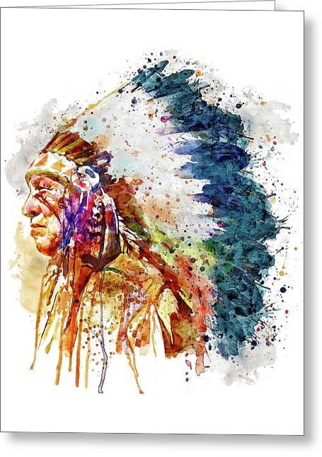 Native American Chief Side Face Greeting Card by Marian Voicu
