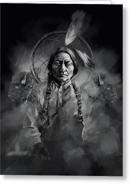 Native American Chief-sitting Bull 3 Greeting Card by Bekim Art
