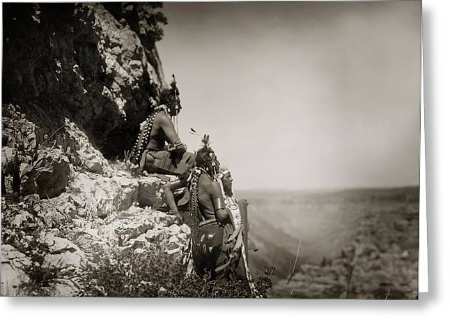 Native American Crow Men On Rock Ledge Greeting Card by Jennifer Rondinelli Reilly - Fine Art Photography