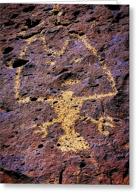 Native American Drawing On Rock Greeting Card