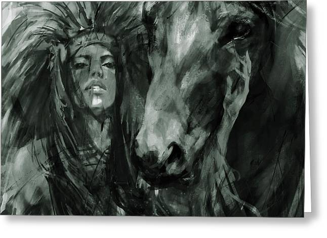 Native American Female With Horse  Greeting Card by Gull G