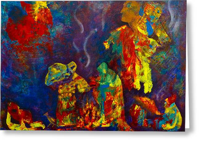 Greeting Card featuring the painting Native American Fire Spirits by Claire Bull