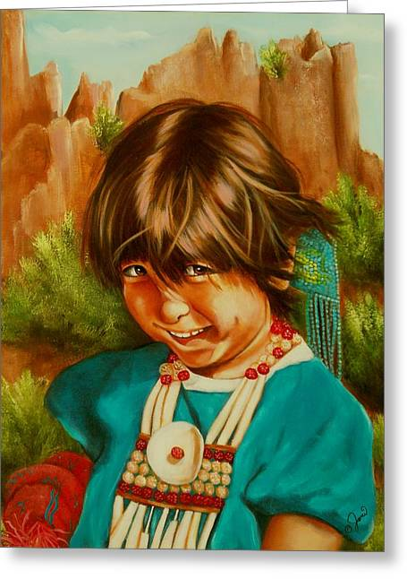 Greeting Card featuring the painting Native American Girl by Joni McPherson