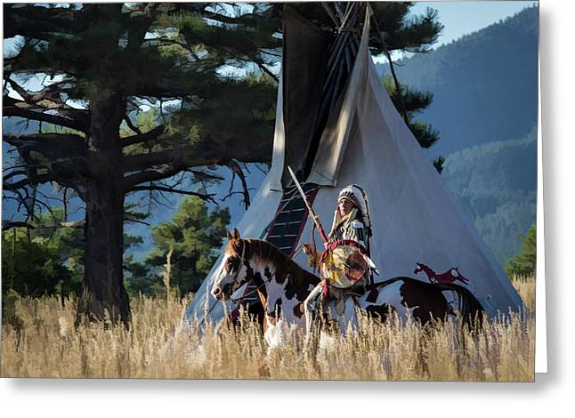 Native American In Full Headdress In Front Of Teepee Greeting Card by Nadja Rider