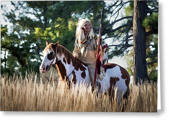Native American In Full Headdress On A Paint Horse Greeting Card by Nadja Rider