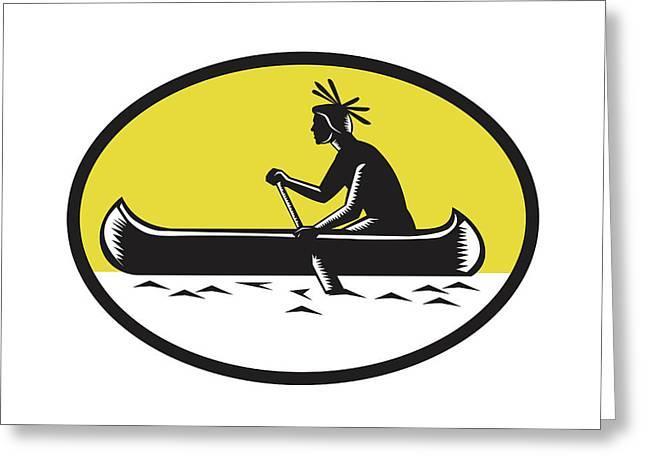 Native American Indian Paddling Canoe Woodcut Greeting Card