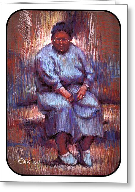 Native American - Lady Sitting Alone Greeting Card
