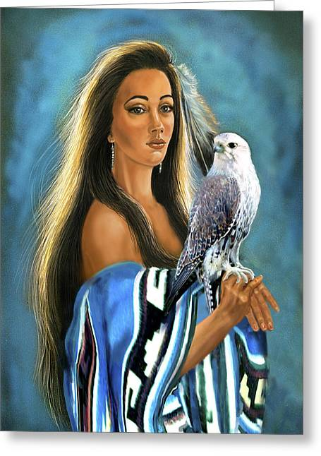 Native American Maiden With Falcon Greeting Card by Regina Femrite