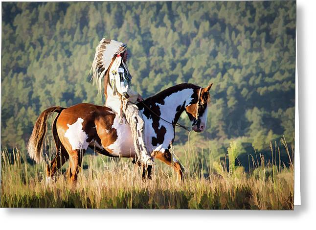 Native American On His Paint Horse Greeting Card by Nadja Rider
