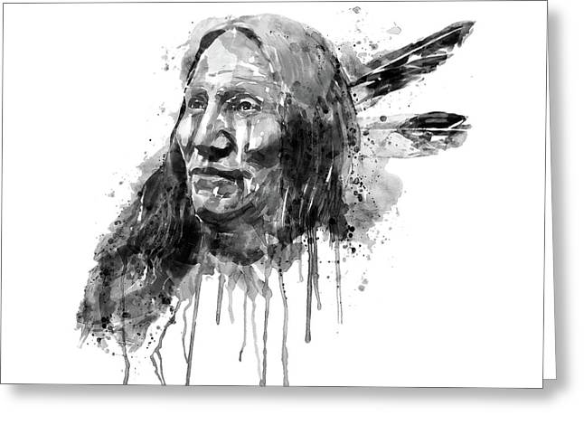 Native American Portrait Black And White Greeting Card by Marian Voicu