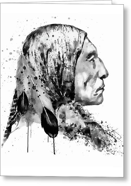 Native American Side Face Black And White Greeting Card by Marian Voicu