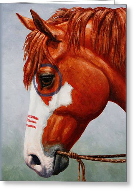 Chestnut Horse Greeting Cards - Native American War Horse Phone Case Greeting Card by Crista Forest