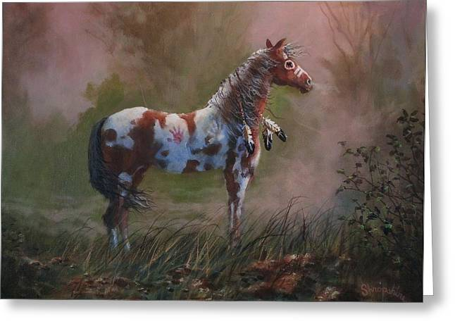 Native American War Pony Greeting Card by Tom Shropshire