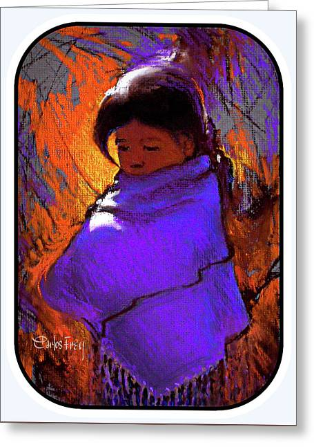 Native American - Young Girl In Purple Cape Greeting Card