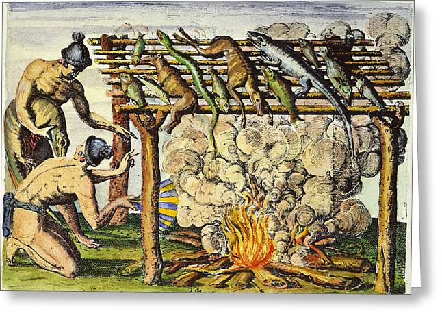 Native Americans: Barbecue, 1591 Greeting Card