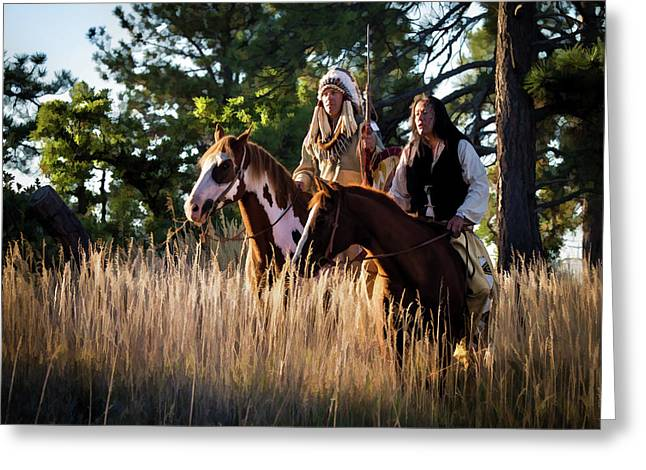 Native Americans On Horses In The Morning Light Greeting Card by Nadja Rider